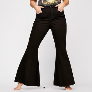 Free People CRVY Super High Rise Lace-up Flares